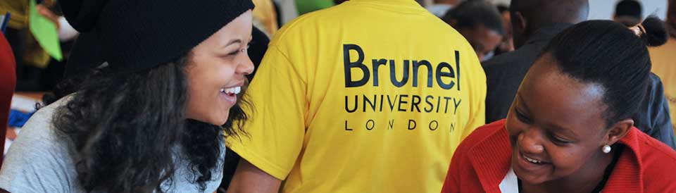 Girls laughing and a T-shirt with Brunel Logo