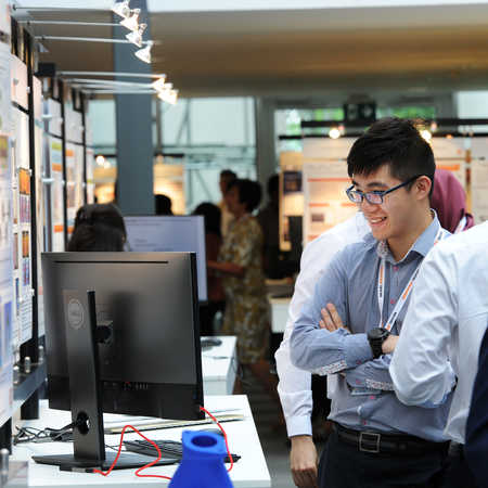 Student showcasing his final year project at Brunel Engineers showcase