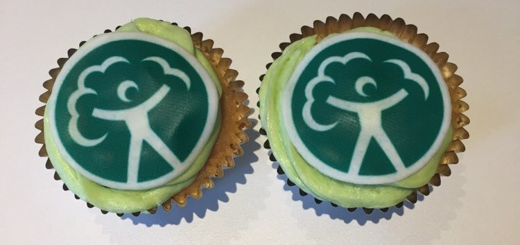 Two environment agency branded cupcakes