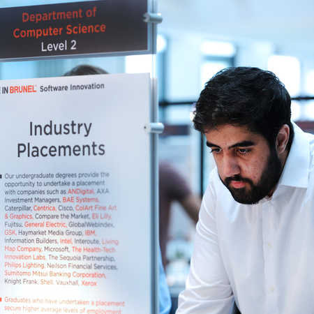 Student looking at list of industrial placement providers