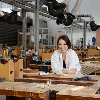 Design student in Brunel's state-of-the-art facilities