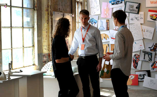 Three students exchanging ideas at the Made in Brunel ideas factory