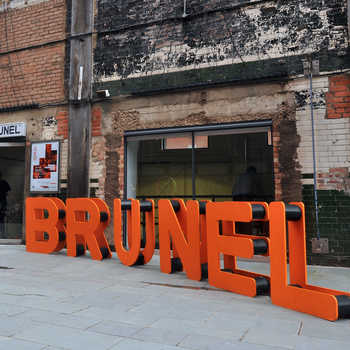 Made in Brunel sign outside Oxo tower, Barge house