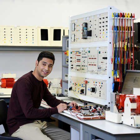 electronic and electrical engineering final year student working on project