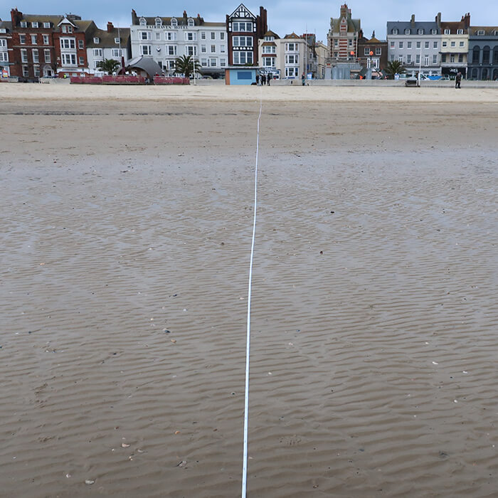 Dorset field trip - Weymouth Beach - preparing a transect for plastic on beach project