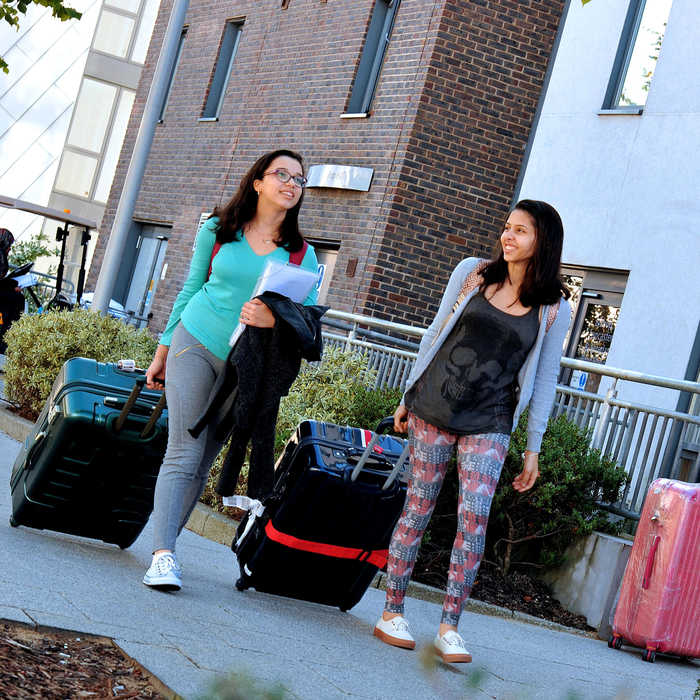 Two international students waling with suitcases on moving in day