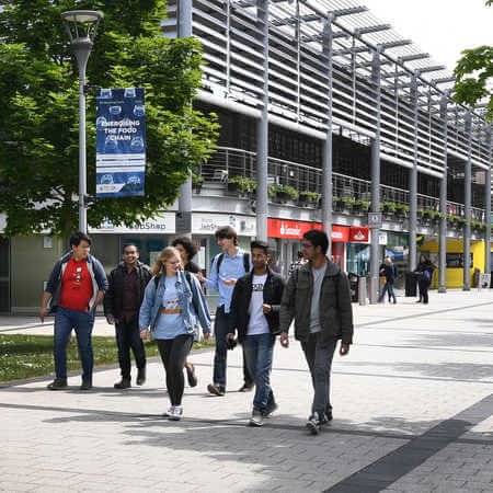 Current Brunel students walking through the campus