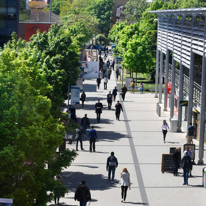 aerial view of students walking through campus outside