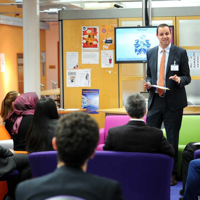Arad Reisberg giving a workshop to a group of Brunel Law School students
