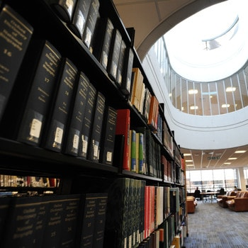 Books in the dedicated law section of the library at Brunel University London
