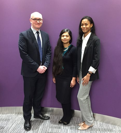 Brunel Law School alumni Tony Coyne and Nadia Ullah and current student Saskia Rock-Williams at the Blake Morgan offices