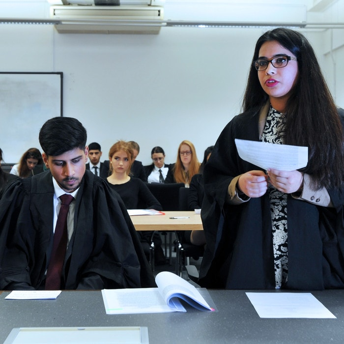 Law students mooting in the Brunel moot court