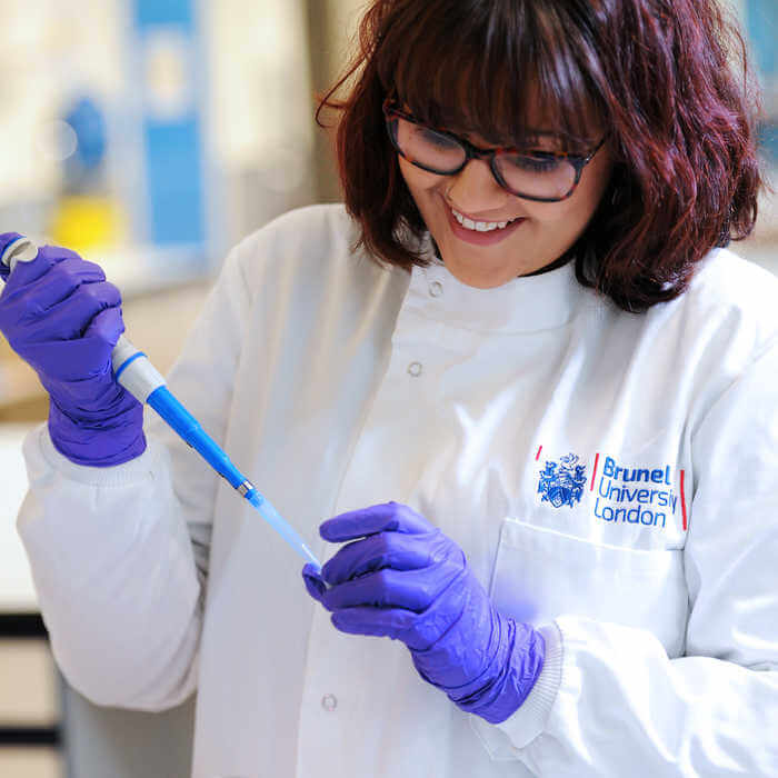Life Sciences female student in a laboratory at Brunel University London3(1)