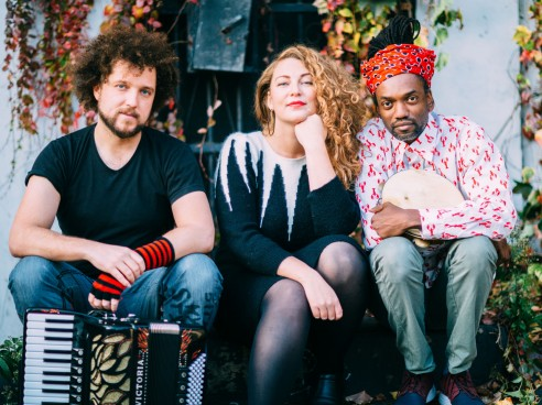 image of ELDA TRIO: Emilia Martensson, voice, Janez Dovc, accordion/electronics & Adriano Adewale, percussion