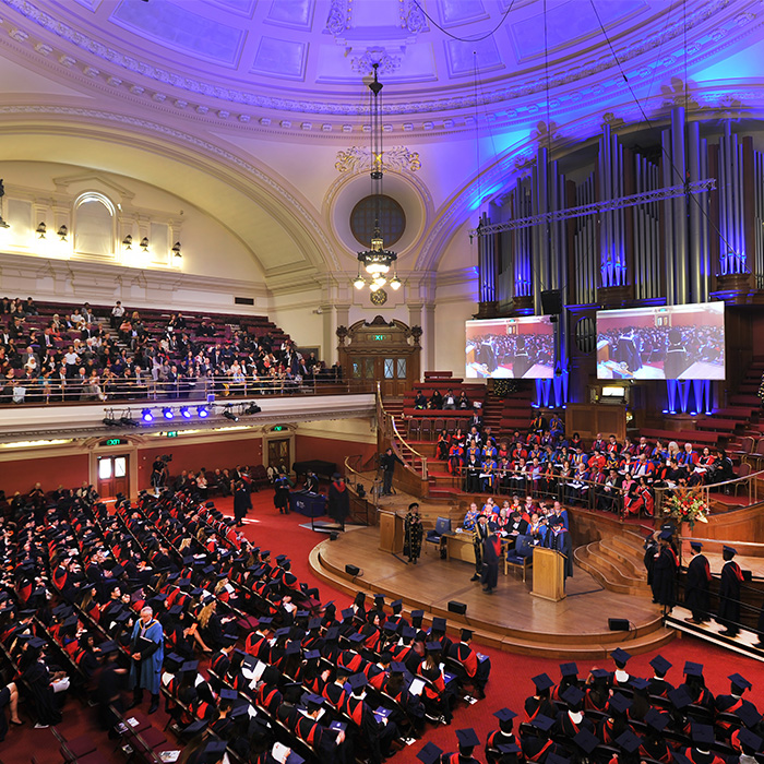 winter graduation at Central Hall Westminster
