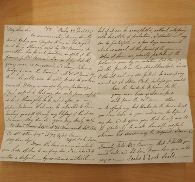 Special Collections Gilbert Blout Letter