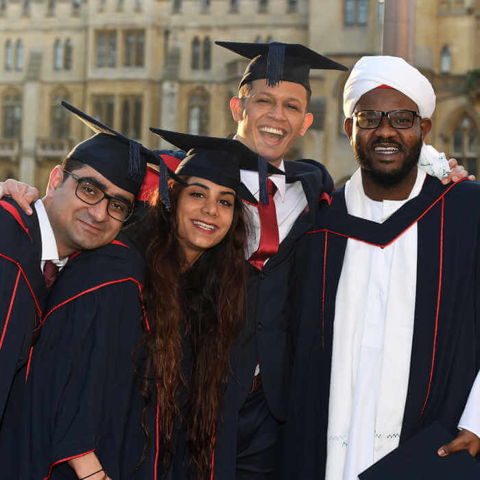 Brunel students on their graduation day in central London 2