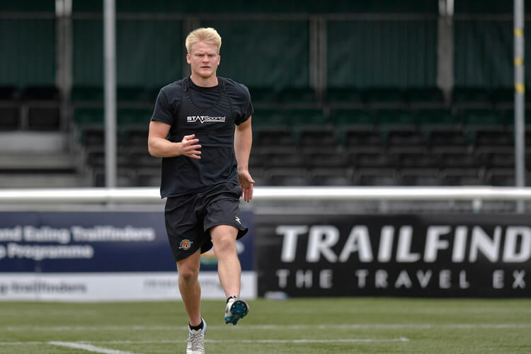 Scrum-half Ewan Fenley of Ealing Trailfinders on training