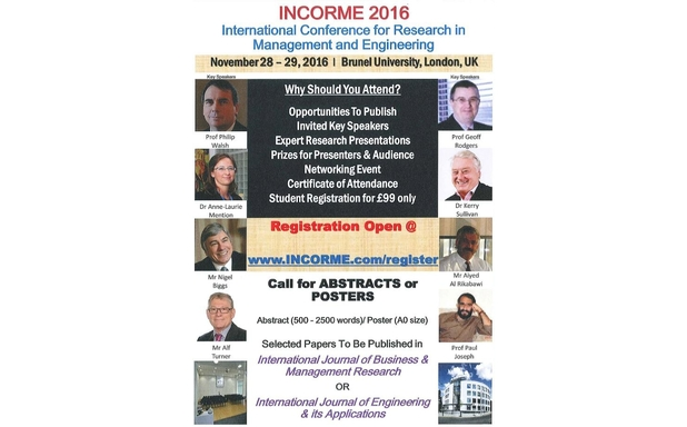 image of International Conference for Research in Management and Engineering (INCORME 2016)
