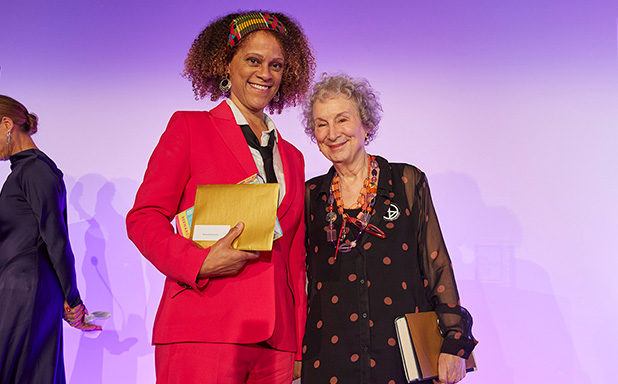 image of Bernardine shares Booker Prize with Atwood