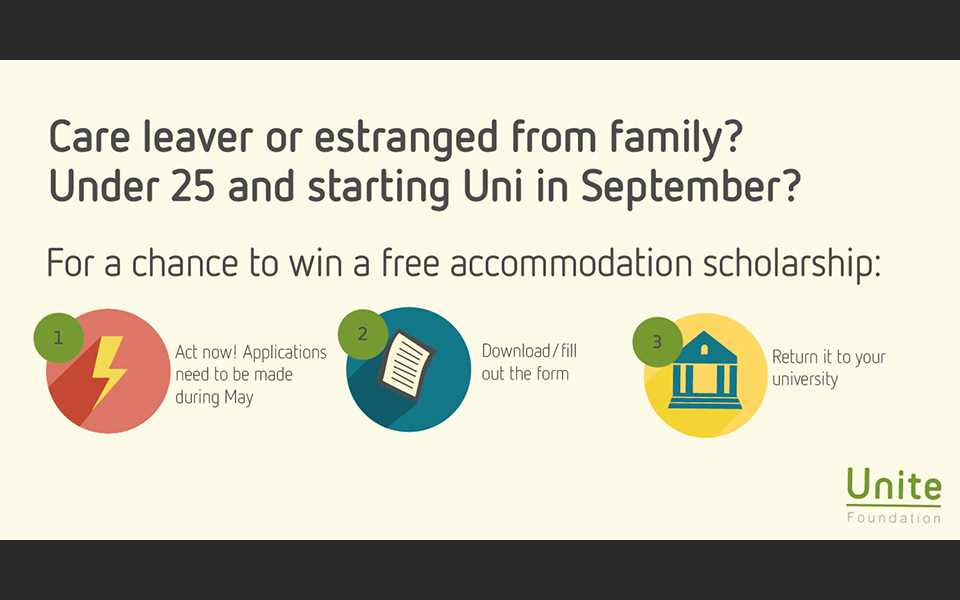 image of Free accommodation scholarships available for estranged and care leaver students