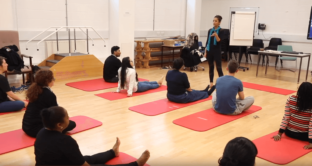 Social work yoga practical session at Brunel University London