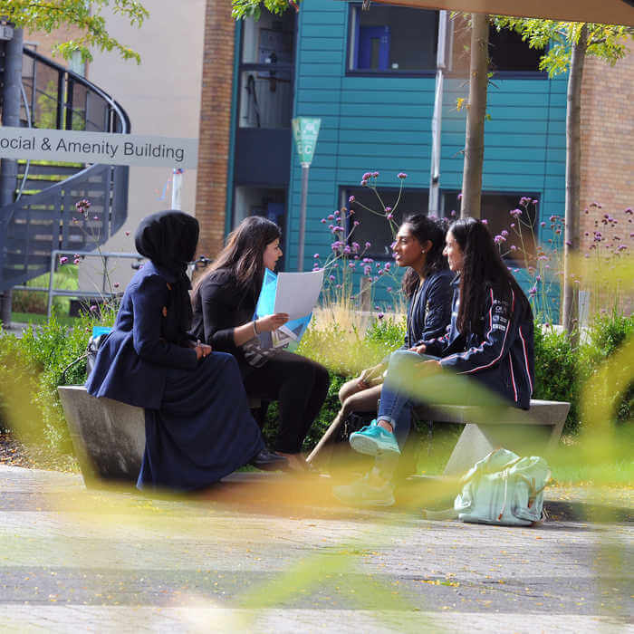 four students chatting on a bench