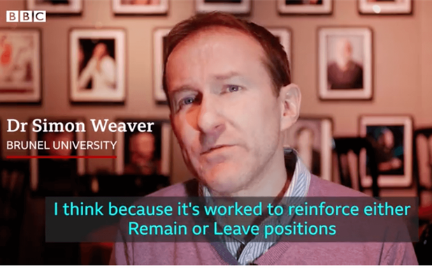 image of Dr Simon Weaver discusses comedy and Brexit for BBC News Report