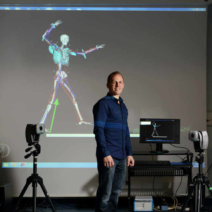 portrait of lecturer in a Sport Health and Exercise Sciences laboratory