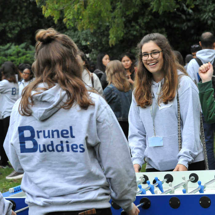 Brunel Buddies student ambassadors playing a game at Brunel University London