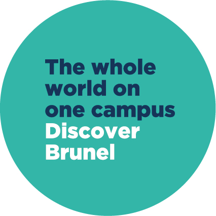 blue text the wjole world on one campus in a green circle
