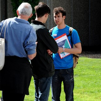 two people on a campus tour with a brunel student ambassador