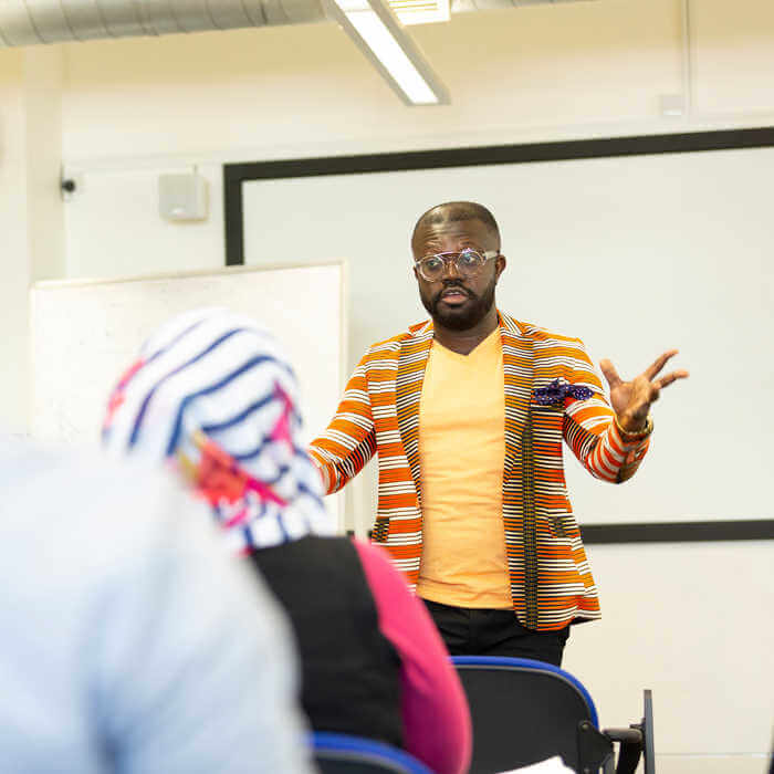 Public Health lecturer speaking to his class