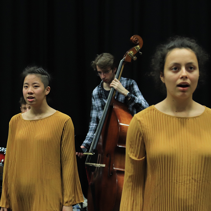 Students performing on the stage of Theatre Studio at Brunel University London  (5)