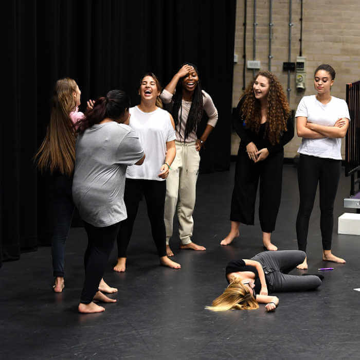 Theatre students practicing on the stage of Brunel University London 7